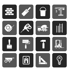 Flat construction and building icons vector