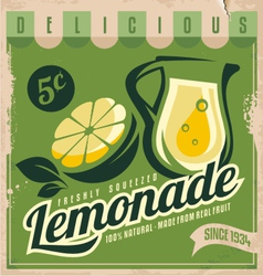 Vintage poster template for lemonade vector image vector image