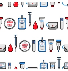 Seamless pattern Diabetes Medical flat icons vector image vector image