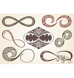 Set of different infinity symbols vector image vector image