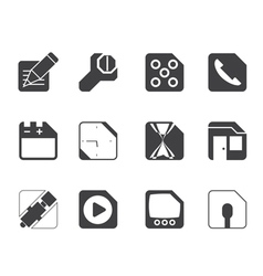 Silhouette Mobile Phone and Internet Icons vector image vector image