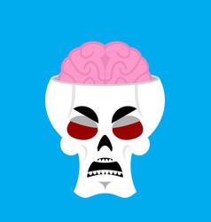 skull and brain angry emoji skeleton head grumpy vector image vector image