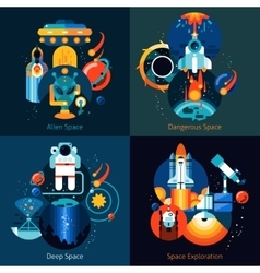 Space Flat Set vector image vector image