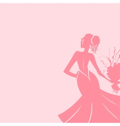 Wedding background with elegant bride vector image vector image