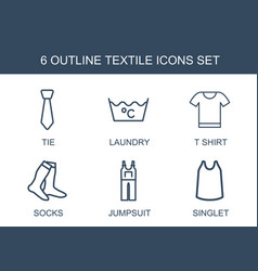 6 textile icons vector image