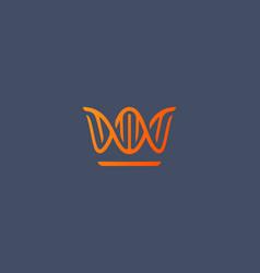abstract crown dna logo icon design modern minimal vector image