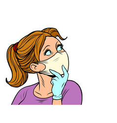 Beautiful girl in medical mask looks sideways vector