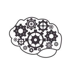 brain and gears icon vector image