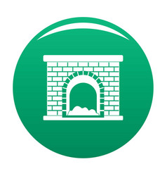 Brick fireplace icon green vector