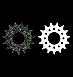 Bright mesh wire frame cog icon with flash spots vector