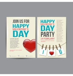 Brochure Flyer Happy Valentines Day design vector image