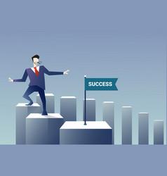 Business man walk financial chart bar success vector