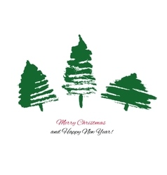 Christmas Card with three hand drawn trees vector image