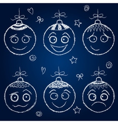 Christmas decorations - chalk balls faces vector image