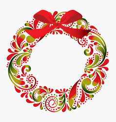 Christmas wreath made from a flower pattern vector