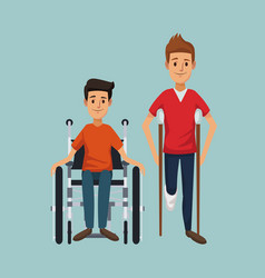 color background with men on crutches and vector image