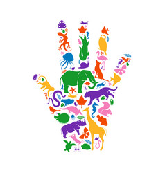 Colorful wild animal icon hand shape isolated vector
