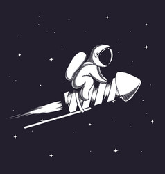Cute astronaut flying on firework rocket vector