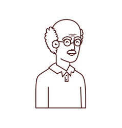 Cute grandfather avatar character vector