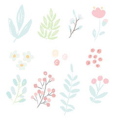 cute hand draw style pastel pink and blue spring vector image