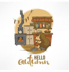 Cute with hedgehog house interior vector