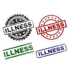 damaged textured illness seal stamps vector image