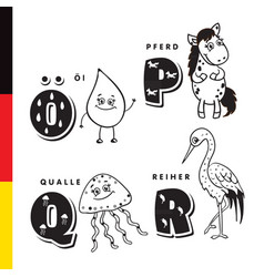 deutsch alphabet olive oil horse jellyfish vector image