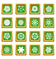 Different flowers icons set green vector