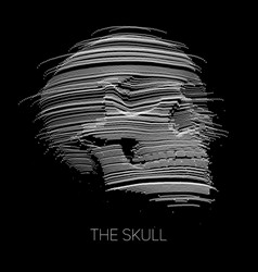 distorted skull constructed with points vector image