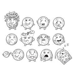 Earth planet globe with emotions cute set vector