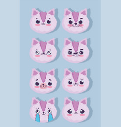 emojis kawaii cartoon faces cute pink animal vector image