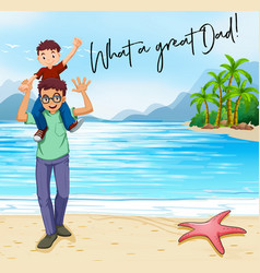 Father and son on beach vector
