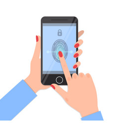 fingerprint identification on smartphone vector image
