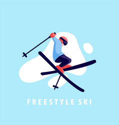 Flat design ski jump freestyle vector