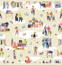 flea market people shopping second hand stylish vector image