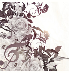 Floral background with roses in vintage sepia vector