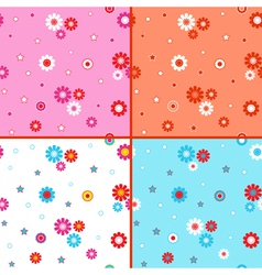 Four seamless patterns with daisies vector