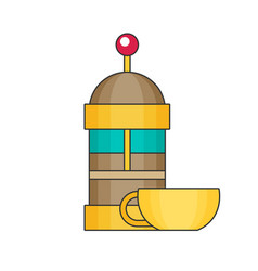 French press flat vector