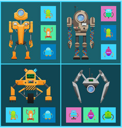futuristic cyborgs set artificial intelligence vector image