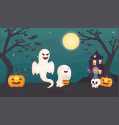 ghosts pumpkin and candles skull halloween vector image
