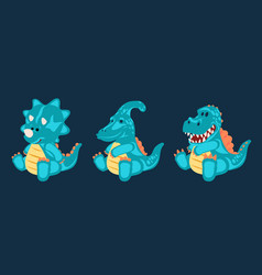 Green toy baby dinosaur set vector