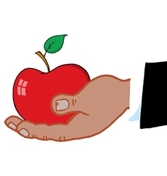 Hand holding apple cartoon vector image