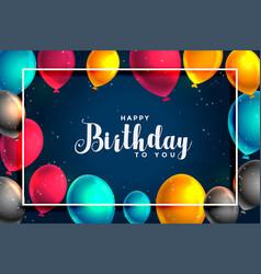 Happy birthday fun balloons card design background vector