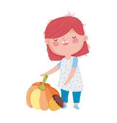 happy thanksgiving day girl pumpkin and acorn vector image