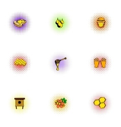 Honey icons set pop-art style vector image