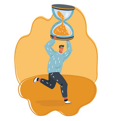 hourglass in mans hand rushing to finish project vector image