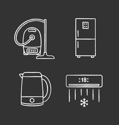household appliance chalk icons set vector image