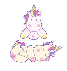 kawaii cute unicorn sleeping sweetly pastel color vector image