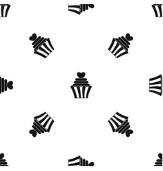 love cupcake pattern seamless black vector image
