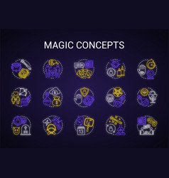 Magic neon light concept icons set occultism vector
